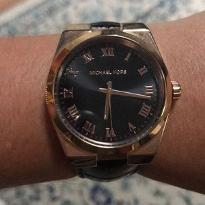 Michael Kors Black Leather/Rose Gold Watch